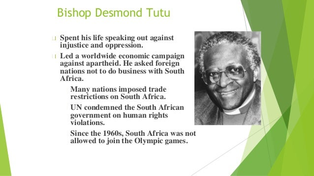"the early life and times of desmond tutu Desmond mpilo tutu (known fondly as the ""arch"") was born in klerksdorp on 7 october 1931 his father, zachariah, who was educated at a mission school, was the headmaster of a high school in klerksdorp, a small town in the north west province."