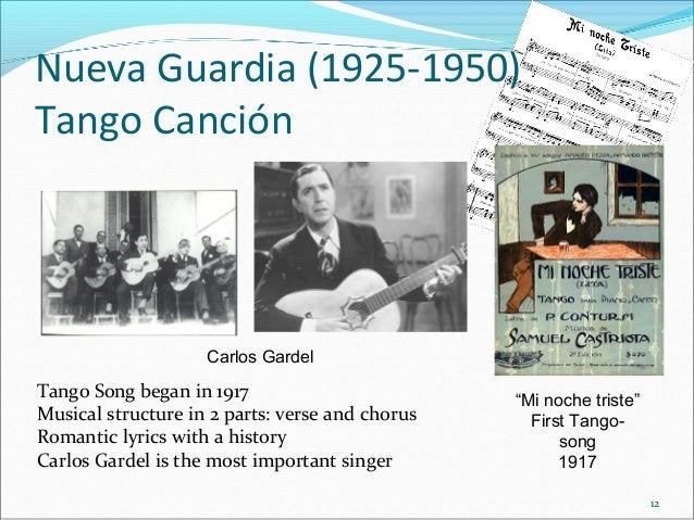 Nueva Guardia (1925-1950) Tango Canción  Carlos Gardel  Tango Song began in 1917 Musical structure in 2 parts: verse and c...