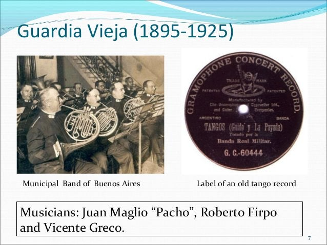 """Guardia Vieja (1895-1925)  Municipal Band of Buenos Aires  Label of an old tango record  Musicians: Juan Maglio """"Pacho"""", R..."""