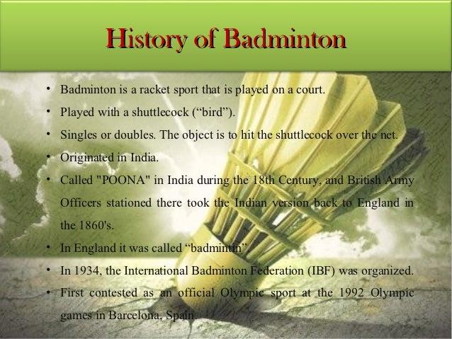 BADMINTON HISTORY SUMMARY PDF DOWNLOAD