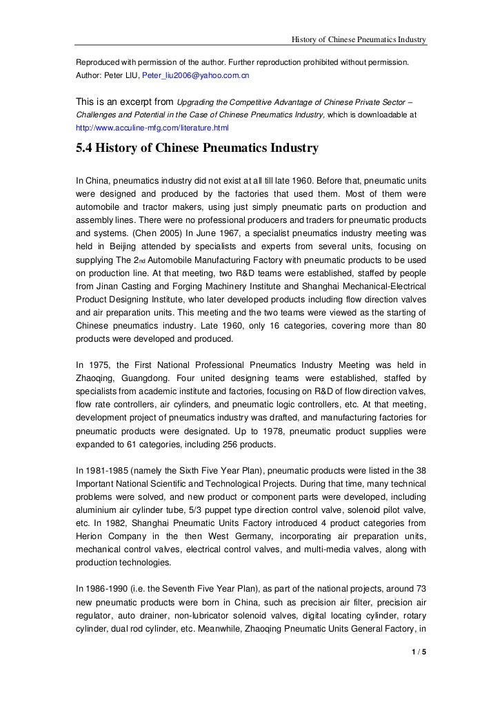 History of Chinese Pneumatics IndustryReproduced with permission of the author. Further reproduction prohibited without pe...