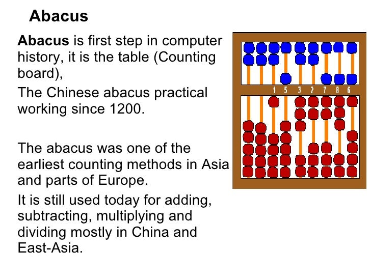 the history and evolution of the abacus Although it is unknown precisely who invented the abacus, the device was developed in china around 3000 bc it is highly compact and easy to use and forms the basis for modern calculators and.