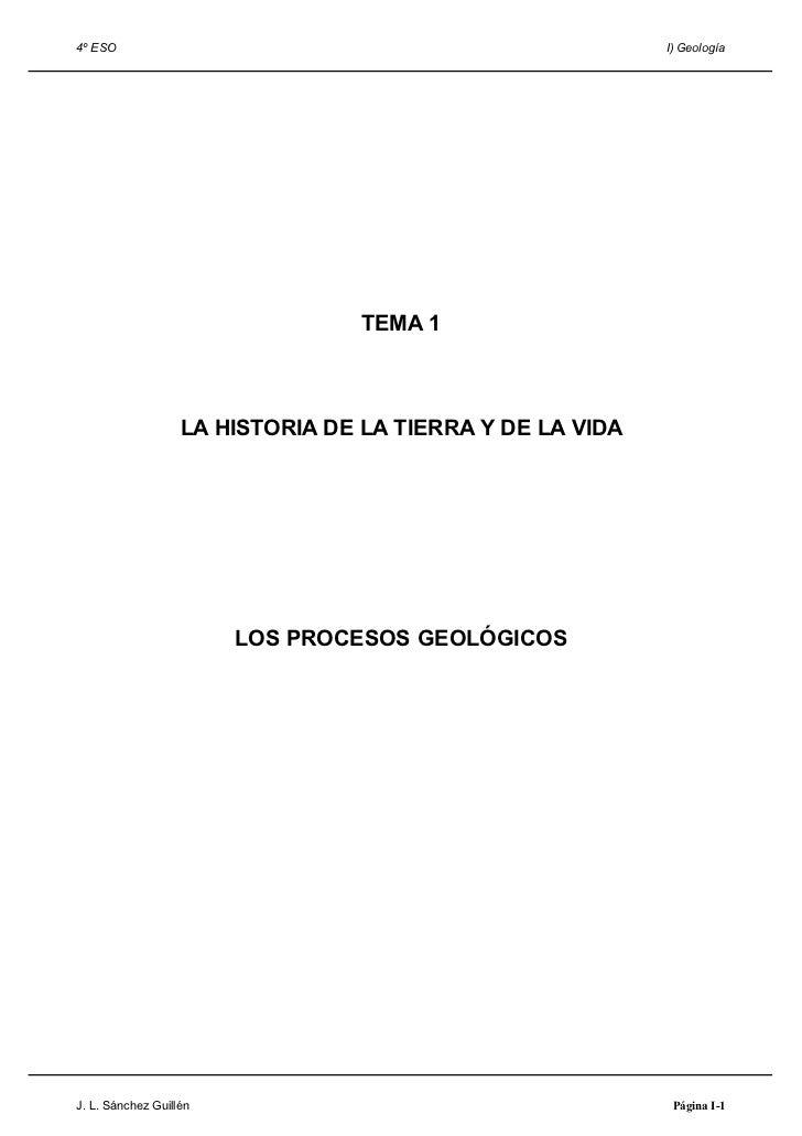 4º ESO                                                     I) Geología                                  TEMA 1            ...