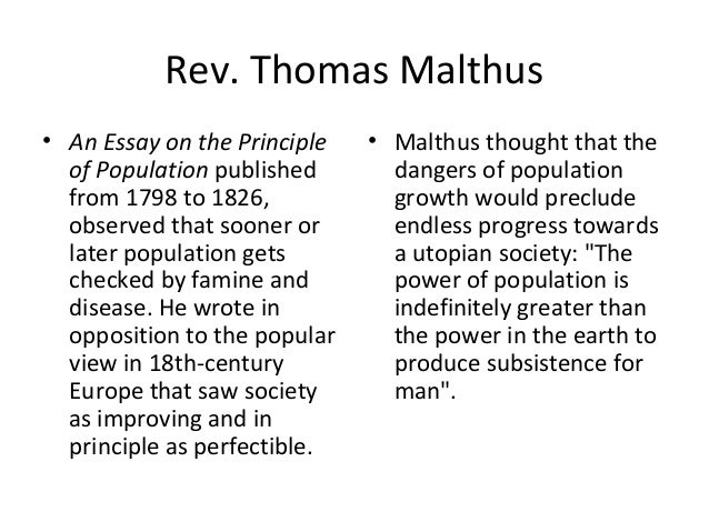 published essay principle population Thomas robert malthus: an essay on the an essay on the principle of population, published an enlarged and revised edition of the essay, published in.
