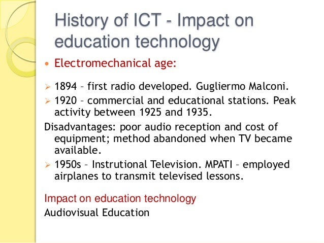 history of ict in education pdf