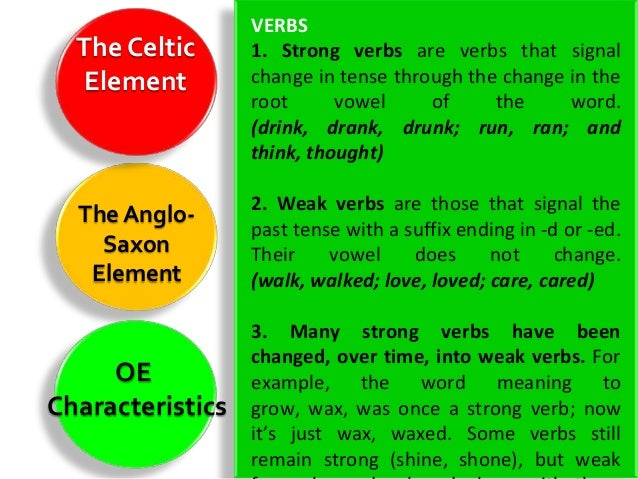 Nouns  The Celtic      1. Moreover, like many other European   Element        languages, OE had full grammatical gender:  ...