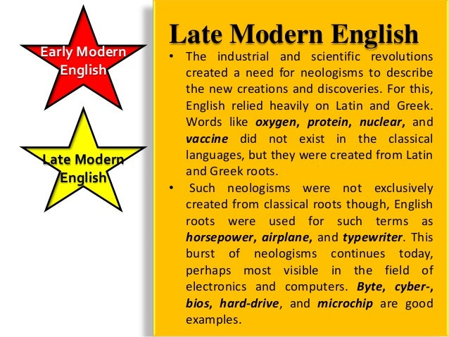 Early Modern   EnglishLate Modern  English  English  Today        English has without a doubt               become the glo...