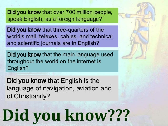 Did you know that over 700 million people,speak English, as a foreign language?Did you know that three-quarters of theworl...