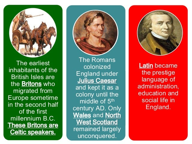  The language spoken by the Britons hasThe Celtic     developed into:                               Welsh- Wales Element ...