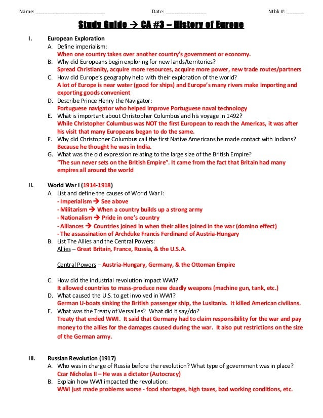 history of europe study guide key rh slideshare net Calculus Study Guide ap european history chapter 14 study guide answers