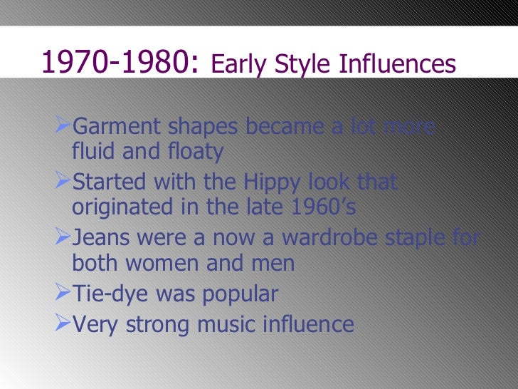 the history and influence of fashion in the 1960s and 1970s Feminist activities in the 1960s  as well as the formal study of women's history  check out the 1960s and 1970s feminist beliefs.