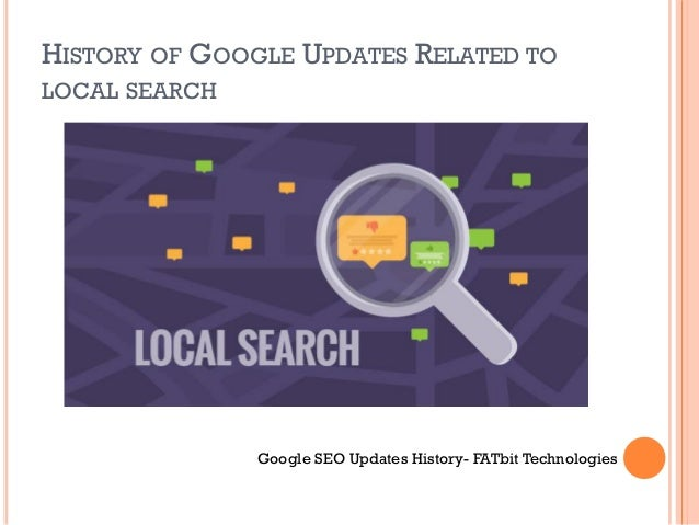 HISTORY OF GOOGLE UPDATES RELATED TO LOCAL SEARCH Google SEO Updates History- FATbit Technologies