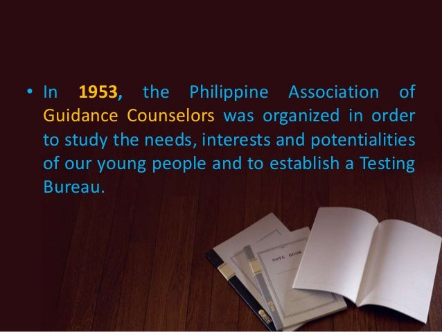 history of guidance and counseling in the philippines The professional, the quest for licensure and the value of is to provide a brief history of counseling as a the division of counseling and guidance.