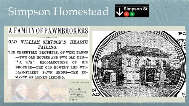 Simpson Homestead The Cheeryble Brothers; painting by Harold Copping , scanned by Philip V. Allingham New York Times 1878