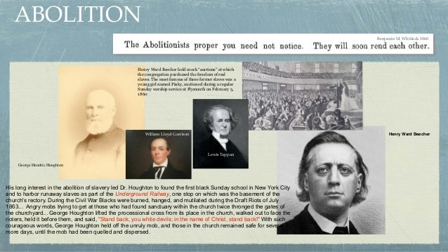 Benjamin M. Whitlock 1860 His long interest in the abolition of slavery led Dr. Houghton to found the first black Sunday s...