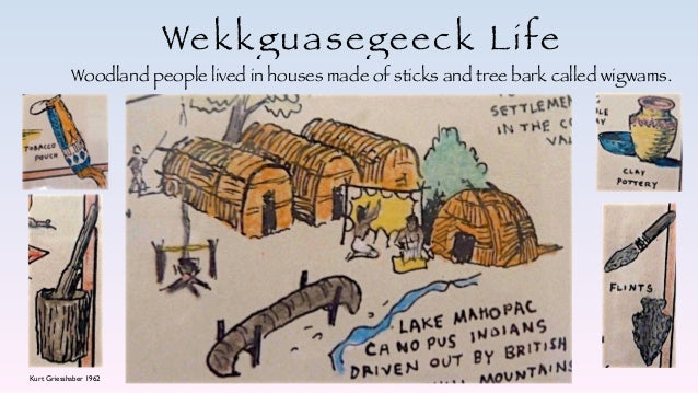 Wekkguasegeeck Life Woodland people lived in houses made of sticks and tree bark called wigwams. Kurt Griesshaber 1962