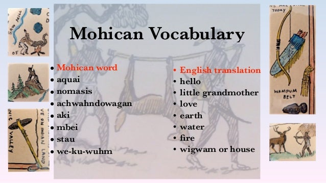 Mohican Vocabulary • Mohican word • aquai • nomasis • achwahndowagan • aki • mbei • stau • we-ku-wuhm • English translatio...