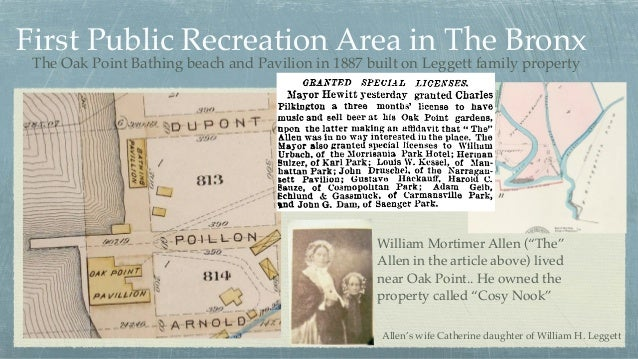 First Public Recreation Area in The Bronx The Oak Point Bathing beach and Pavilion in 1887 built on Leggett family propert...