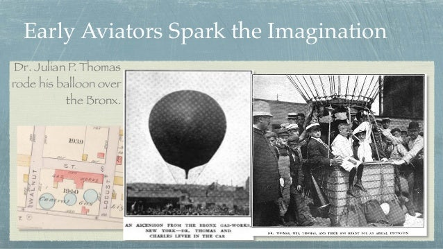 Early Aviators Spark the Imagination Dr. Julian P. Thomas rode his balloon over the Bronx.