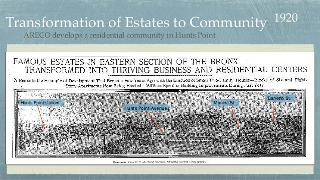 Transformation of Estates to Community Hunts Point station Hunts Point Avenue Manida St. Barretto St. 1920 ARECO develops ...