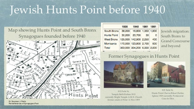 Jewish Hunts Point before 1940 Dr. Seymour J. Perlin Remembrances of Synagogues Past Map showing Hunts Point and South Bro...