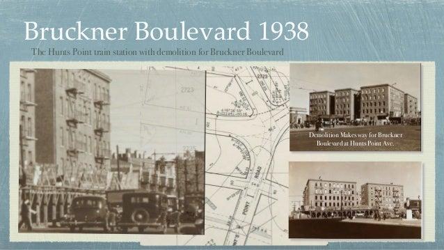 Bruckner Boulevard 1938 Demolition Makes way for Bruckner Boulevard at Hunts Point Ave. The Hunts Point train station with...