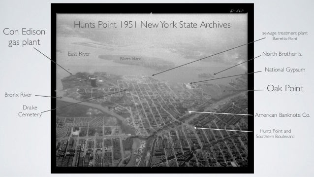 Hunts Point 1951 NewYork State Archives Con Edison gas plant Bronx River Rikers Island Oak Point East River National Gypsu...