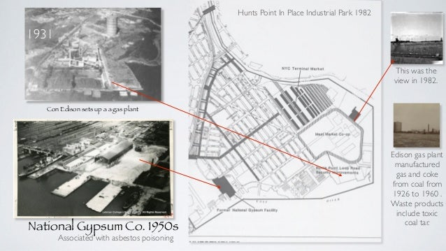 National Gypsum Co. 1950s Hunts Point In Place Industrial Park 1982 Con Edison sets up a a gas plant 1931 The Con Edison g...