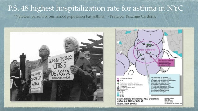 """P.S. 48 highest hospitalization rate for asthma in NYC """"Nineteen percent of our school population has asthma."""" - Principal..."""