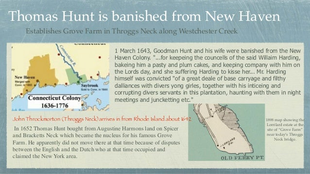 """1 March 1643, Goodman Hunt and his wife were banished from the New Haven Colony. """"...for keepeing the councells of the sai..."""