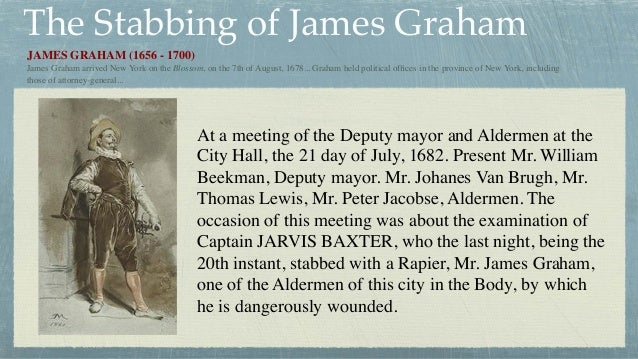 The Stabbing of James Graham At a meeting of the Deputy mayor and Aldermen at the City Hall, the 21 day of July, 1682. Pre...