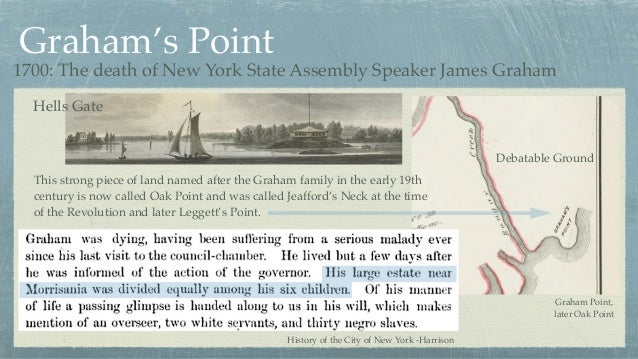 Graham's Point Graham Point, later Oak Point History of the City of New York -Harrison This strong piece of land named aft...