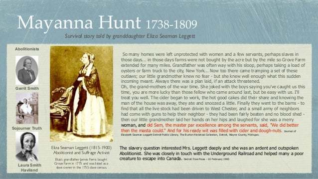 Mayanna Hunt 1738-1809 Gerrit Smith Sojourner Truth Laura Smith Haviland Abolitionists Eliza Seaman Leggett (1815-1900) Ab...