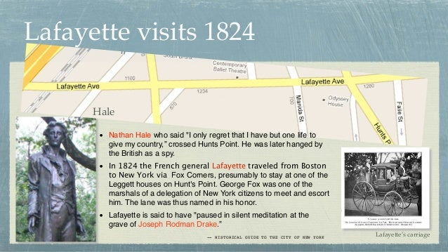 """Lafayette visits 1824 Hale • Nathan Hale who said """"I only regret that I have but one life to give my country,"""" crossed Hun..."""