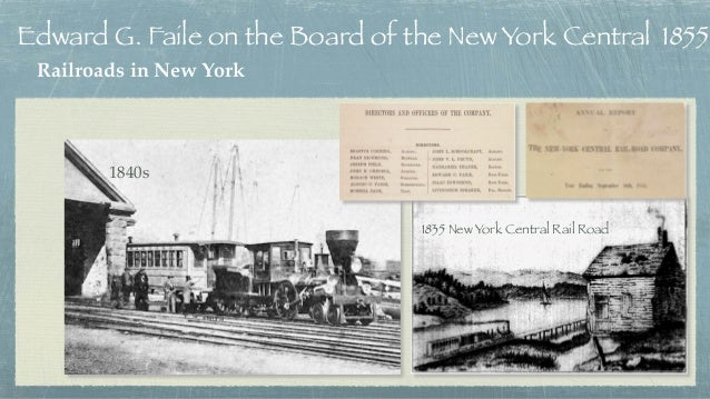 Railroads in New York 1835 New York Central Rail Road Edward G. Faile on the Board of the New York Central 1855 1840s