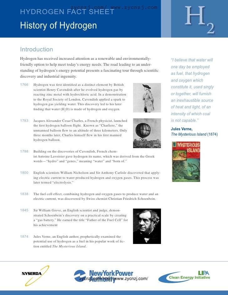 zycnzj.com/ www.zycnzj.com HYDROGEN FACT SHEET  History of Hydrogen  Introduction Hydrogen has received increased attentio...