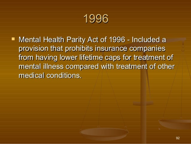 mental health parity act of 1996 Americans with disabilities act (ada), mental health parity and  began in 1996  with the federal mental health parity act this act required that.