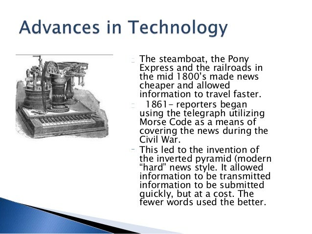 """a history of the telegraph in newswriting and war journalism Penn state (us) — new technologies and a growing demand for information during the us civil war forever changed the nation's press, according to a book by journalism professor ford risley """"it was absolutely an important moment in the history of the press,"""" says penn state's risley."""