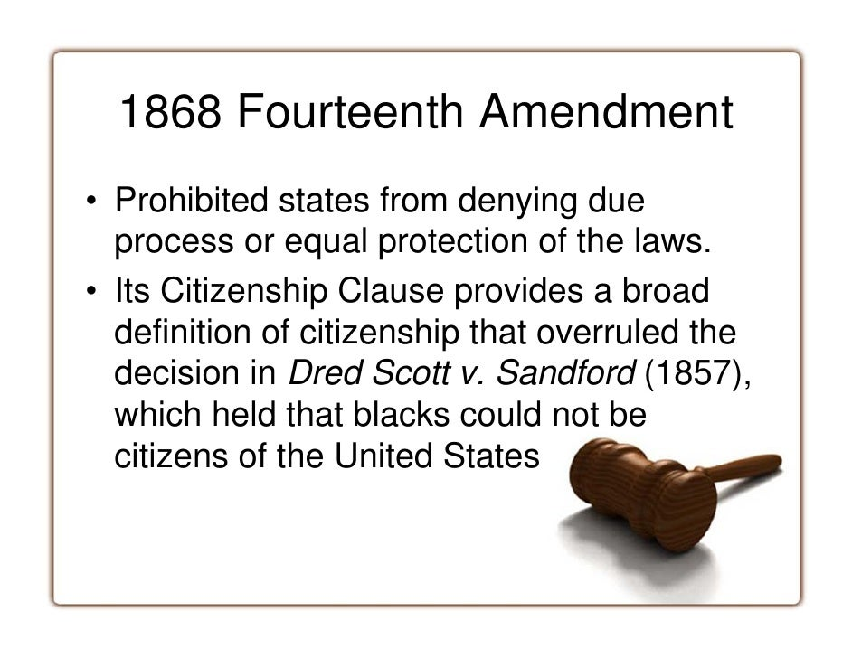 the violation of scotts right to equal citizenship rights and protection in the dred scott v stanfor Dred scott v sandford, 60 us (19  scotts could have  article iii's provision for diversity of citizenship because scott was not a citizen in the.