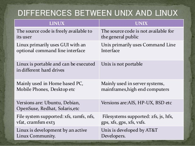 difference between unix and linux commands
