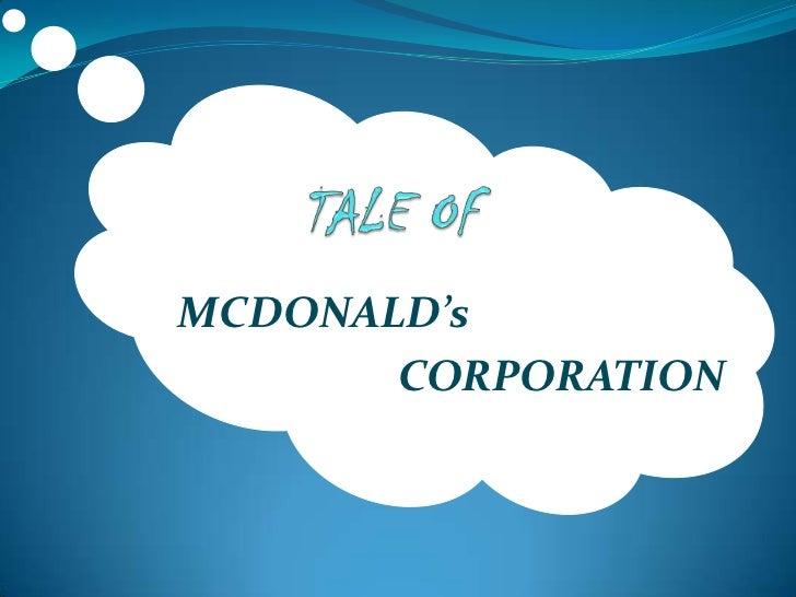 Mcdonalds corporation in the new millenium