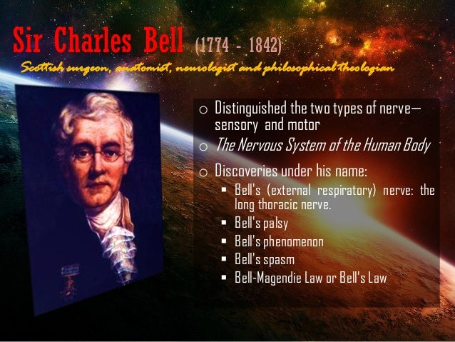 Sir Charles Bell (1774 - 1842) o Distinguished the two types of nerve— sensory and motor o The Nervous System of the Human...
