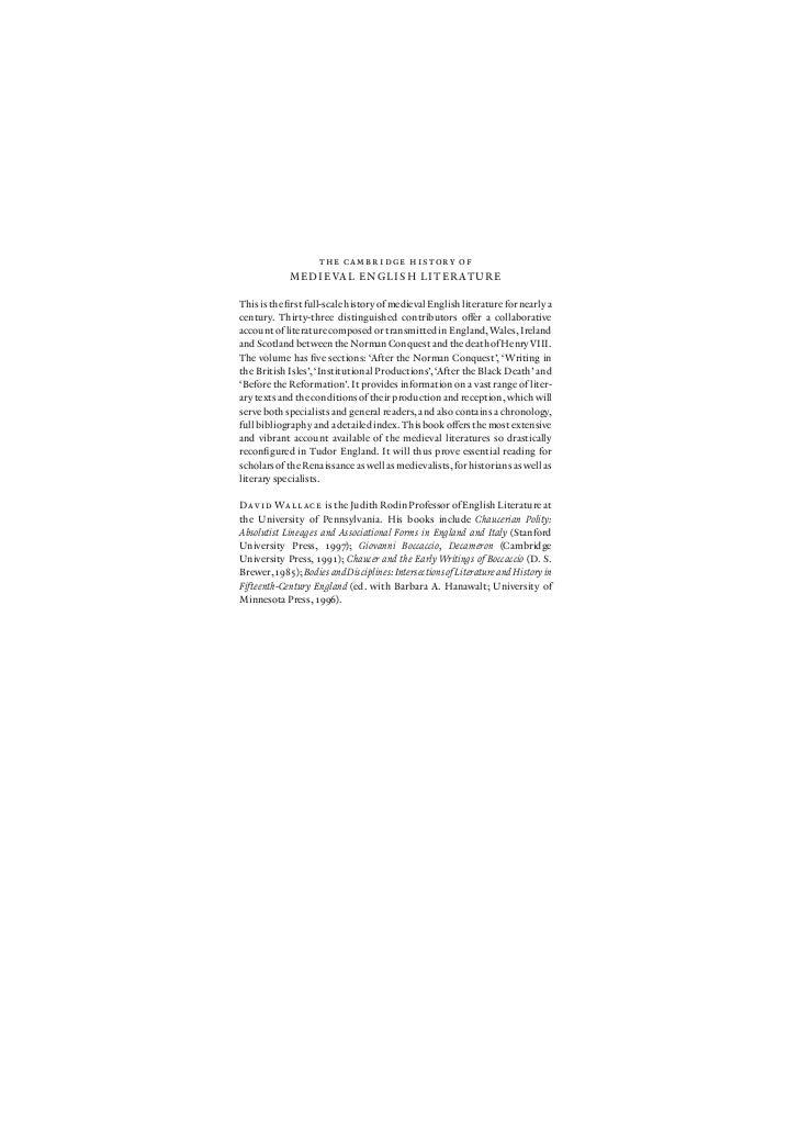 the cambridge history of             M E D I E VA L E N G L I S H L I T E R AT U R EThis is the first full-scale history of...