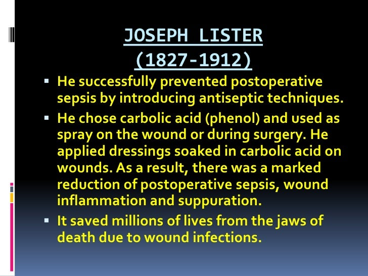 JOSEPH LISTER (1827-1912)<br />He successfully prevented postoperative sepsis by introducing antiseptic techniques.<br />H...