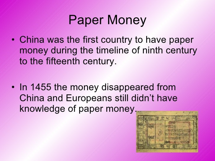 history of paper money A quick history of paper money prof sproul, money and banking abstract this paper explains the history of paper money in the context of the backing theory of money.