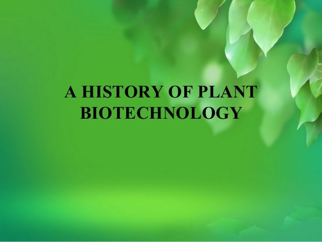 A HISTORY OF PLANT  BIOTECHNOLOGY