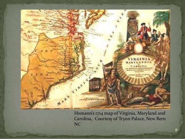 History of nc colonial and continental port of bath and its colonial copy 1744 8 8 homanns 1714 map of virginia maryland and carolina sciox Gallery