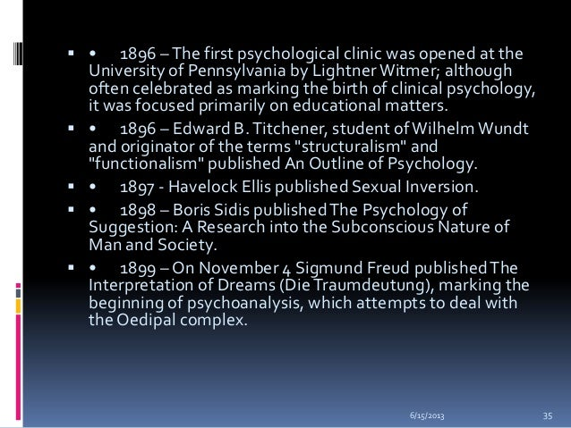 a history of sigmund freuds education and milestones on psychology Sigmund freud was a late 19th and early 20th century neurologist he is widely acknowledged as the father of modern psychology and the primary developer of the process of psychoanalysis sigmund.