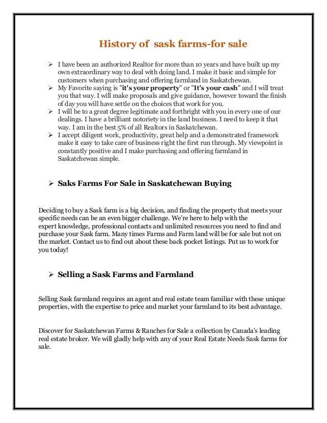 History of sask farms for sale