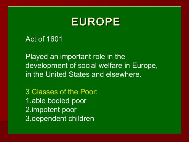 The History of Welfare